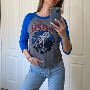 OBEY Henley with wolf graphic
